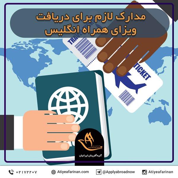 مدارک لازم برای دریافت ویزای همراه انگلیس